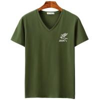 夏季新款青少年男士V领字母男式短袖t恤纯棉半袖韩版潮流上衣05