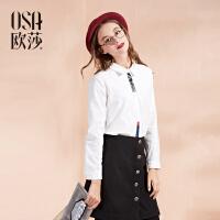 OSA欧莎冬涂鸦印花加绒厚白色长袖衬衫女韩版D12102