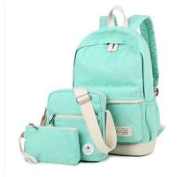 帆布双肩包日韩初中学生 书包学院风高中生旅行背包印花女生