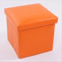 简约素色PU皮收纳凳 储物凳 换鞋凳-橘色