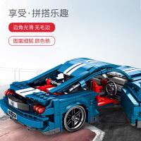 森宝福特野马积木兼容乐高科技机械组系列成年高难度拼装跑车模型