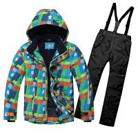 儿童滑雪服套装男双板保暖冲锋衣2019新款