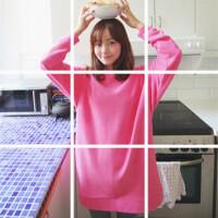 韩国秋冬新款加厚保暖中长款T恤粉色女冬学生宽松套头加绒卫衣潮