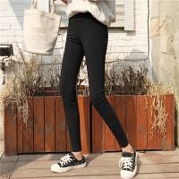 弹力紧身裤女2018新款秋装黑色高腰显瘦学生外穿打底小脚铅笔裤子 黑色