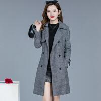 新款秋冬大衣中长款毛呢子外套千鸟格小个子显瘦风衣女