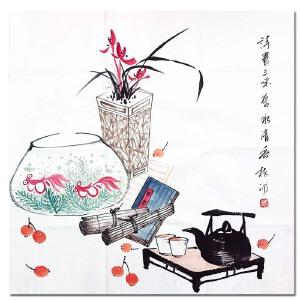 著名主持人 中国美术家协会会员 杨澜《花卉附画册》DW255