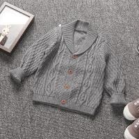 新款潮英伦风格秋装新款童装男童针织翻领加厚毛衣针织开衫外套 3T 建议身高95cm左右