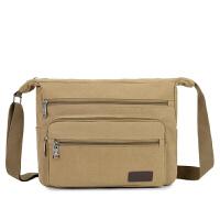 男士帆布包新款男包包大容量小挎包单肩包男斜挎包休闲时尚包布包 卡其大号 8811
