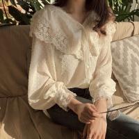 早春韩国chic优雅翻边娃娃领单排扣雪纺蕾丝拼接点点透视衬衣上衣 均码