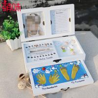 萌味 儿童乳牙盒 足印乳牙脐带收藏收纳盒婴儿盒换牙齿保存收藏盒纪念品新生儿礼物