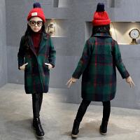 女童毛呢大衣秋装2017新款韩版儿童中大童女孩中长款呢子外套潮 绿色