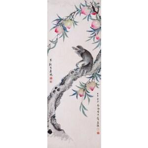 著名画家   何香凝、黄君璧合作《猴子摘桃》