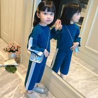 女童套装2018新款中大童洋气小女孩小香风儿童运动休闲裤子两件套 蓝色