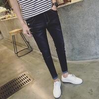 韩版男士牛仔裤休闲薄款直筒弹力修身款青年休闲小脚裤