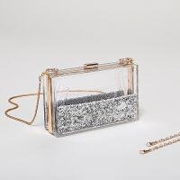 女包2018新款闪粉包包液体透明包小方包单肩斜跨链条盒子包包