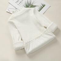 女童毛衣加绒加厚2017新款高领保暖白色毛线衣套头韩版儿童打底衫
