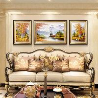 客厅装饰画沙发背景墙欧式壁景油画风水大气墙画客厅挂画 聚福(黑金框)