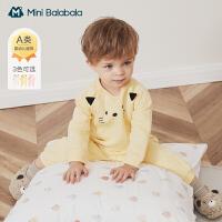 迷你巴拉巴拉宝宝连体衣2020冬针织加厚保暖舒适新生婴儿哈衣爬服