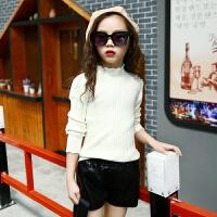 女童毛衣打底新款2017中大女童秋弹力毛线衣韩版儿童百搭针织衫