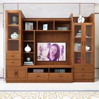 新中式实木电视柜高款家用电视背景柜组合影视墙柜全实木客厅整体 I款3.4米家和万事兴(60寸电视) 胡桃色/海棠 组装