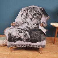 君别北欧卡通美式猫咪毯子线毯 沙发飘窗床尾毯 装饰毯毛毯盖毯 130cm*160cm