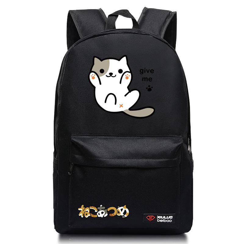 猫咪后院动漫 双肩包男女学生书包 可爱背包_黑色give me