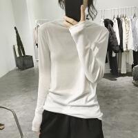 高领打底衫女式秋冬修身弹力显瘦韩版简约纯色基础款长袖套头T恤