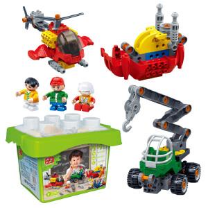 【当当自营】邦宝大颗粒益智拼装积木玩具拧拧梦工场吊车+游艇+直升飞机三合一套装BB9707