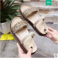 韩版网红水钻沙滩凉拖罗马凉鞋女学生新款百搭平底两穿鞋子