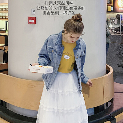 毛菇小象牛仔外套女韩版宽松早秋2019新学生蕾丝拼接bf风短款上衣