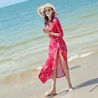 马尔代夫海边度假沙滩裙情侣装蜜月套装长裙裹身裙连衣裙修身显瘦