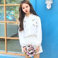 春装新款女装韩版甜美刺绣百搭花边衬衫长袖打底衫衬衣学生女上衣 均码