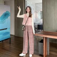 MG小象秋冬套装女2019新款矮个子背心长袖打底衫阔腿裤洋气两件套