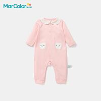 【限时2件3折】马卡乐童装2021秋季新款新生儿女婴童甜美可爱时尚简约翻领连体服