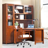 御品工匠 转角电脑桌 台式桌带书柜 书桌书架组合家用写字台桌子