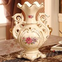 欧式陶瓷花瓶套装摆件 创意奢华水果盘纸巾盒烟灰缸 家居装饰品 米白色 L842花瓶单瓶