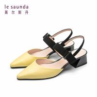 【全场3折】莱尔斯丹 新款一字跟中跟鞋粗跟包头尖头凉鞋单鞋32710