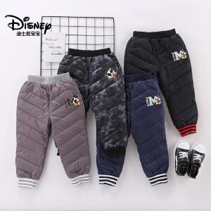 迪士尼宝宝重返学院男童梭织羽绒长裤2018冬款上新