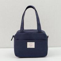 韩版清新饭盒袋加厚帆布手提便当小方包学生可爱带饭包餐盒口袋子