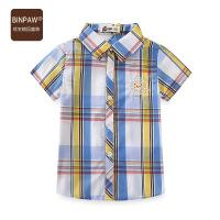 【3件2折到手价:33元】缤宝童装 夏季新品2020韩版经典格子衫胶质透明小熊男童短袖衬衫