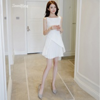2018夏季新款女装修身显瘦白色无袖百褶a字连衣裙名媛仙女晚礼服 白色