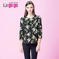 lagogo新品长袖印花上衣T恤女女士体恤衫碎花雪纺衫短款夏装