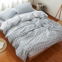 棉床上四件套简约棉北欧条纹床单被罩被套单人床三件套1.2米