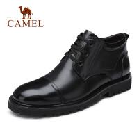 camel骆驼男鞋 秋冬新款商务皮靴加绒保暖短筒牛皮靴皮鞋