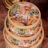 圆形收纳盒铁皮盒饼干盒小熊一家圆罐马口铁盒三件套曲奇饼干盒马口铁盒金属盒 蛋糕点心包装盒