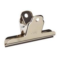得力 文具9532 2号山形夹铁票夹 票据夹子 金属102mm不锈钢票夹子