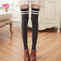 [两双装]内慧 春秋季女学生日系长筒高筒大腿袜半截竖条纹过膝袜子 WZ0019