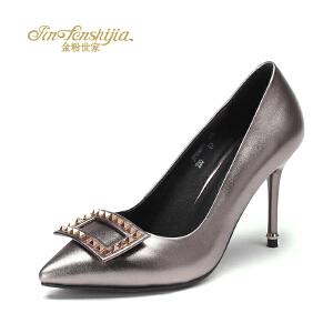 金粉世家 红蜻蜓旗下 秋季单鞋真皮高跟鞋水钻方形扣细跟女单鞋