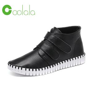 红蜻蜓coolala新品软面软底休闲魔术贴女鞋平底防滑女士单鞋真皮