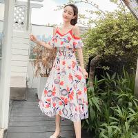 现货实拍沙滩裙新款拼接露肩显瘦连衣裙吊带裙波西米亚长裙度假裙